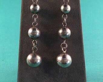 Vintage Sterling Silver Three-Tier Ball Earrings