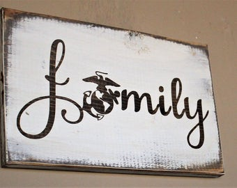 Marine Corps Family Sign - Family Sign - USMC Wall Decor - Wood Sign - Military Wall Art - Marine Corps Wooden Sign - Secret Sister Gift