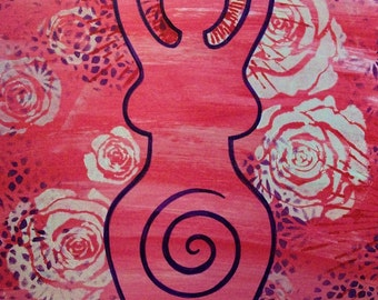 pink floral goddess painting