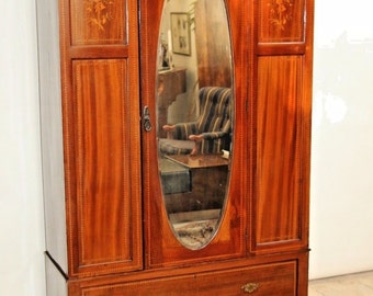 Gorgeous Antique Beveled Oval Mirror Door Inlays Wardrobe Gentlemans Closet Insured safe Nation Wide Shipping Available
