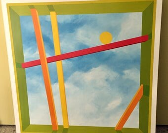 "Huge Vintage Gary Hinsche Geometric Hard EdgeColor Field Art Canvas 48 x 48"" 1980s"