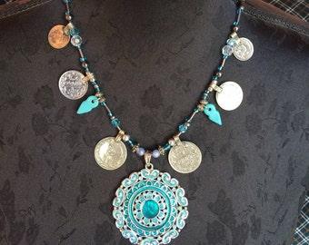Aquaria turquoise tribal fusion kuchi necklace