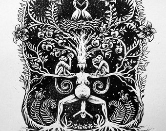 Mother Nature. Linocut, Relief, Handmade Print. Original Art by Valdis Baskirovs.