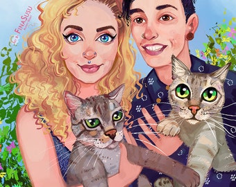 Custom Digital Drawing – 2 people and 2 pets. Personalized hand drawn painting gift idea.  Art portrait illustration painting wall art.