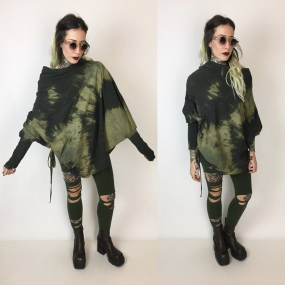 Black & Green Rustic Slouchy Tie Dye Bleached Assymetrical Cotton Tunic Top - Goth Grunge Off The Shoulder Long Sleeve Drawstring Cotton Top