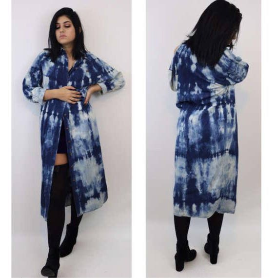 Hand Bleached Denim Shirt Dress - Small Tie Bleach Jean Maxi Layer - Medium Blue Tiedye Layering Jacket - Button Up Long Shirtdress