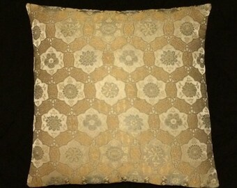 """Luxury silk Jaquard damask woven Modern Accent Pillow gold silver pewter-  17"""" x 17"""" with feather insert"""
