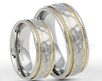 2-Tone Titanium Rings, 8mm Titanium Wedding Band Set, Hammered Finish Milgain Edge Comfort Fit Bride and Groom Wedding Rings TM554-2