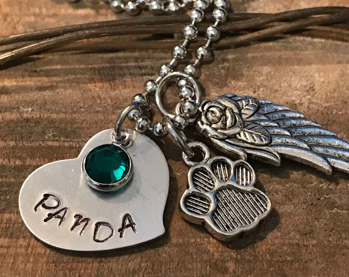 Rainbow Bridge Memorial Jewelry pet loss dog necklace personalized, angel wing, paw print, birthstone