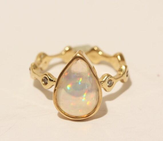 Genuine Opal Ring 14k Gold w/ Diamond Accents  - Custom Gemstone Jewelry Watch Video! #1432