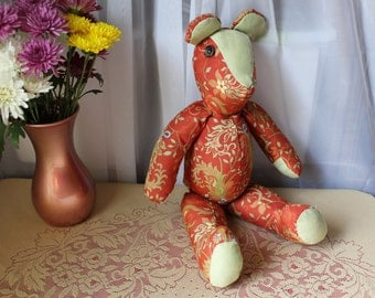 "Handmade 20"" Teddy Bear from Tapestry Material and Suede with Button Eyes 1970's"