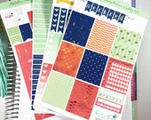 Metallic Arrows Premium Weekly Kit Stickers / Tribal Coral, Navy, Gold & Mint Weekly  for Erin Condren / Weekly Functional Kits / Washi