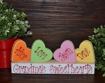 Personalized Valentine's Day Decor Valentin'es Day Grandma Gift Sweetheart Block Set Personalized Sweetheart candies Valentines Decor Block
