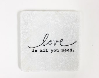 Love Quote Stone Coasters, Tumbled Marble, Home Decor, Set of Coasters