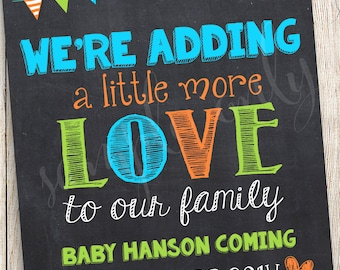 Blue Orange Pregnancy Announcement, Arrow Pregnancy Reveal, We're Expecting Sign, Gender Reveal, Adding a Little More Love