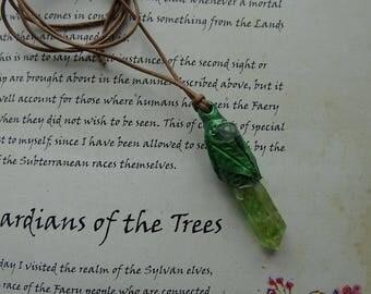 Elven Spirit hand scupltured Titanium Quartz Necklace/Raw Quartz Point/Quartz Gemstone/Elven Necklace/Faerie Pendant