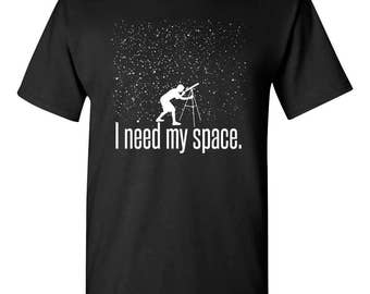 I Need My Space Funny Astronomy Science Adult Mens T-shirt 100% Cotton Black