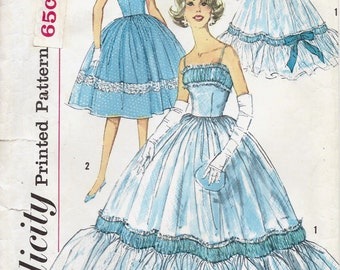 1950s Simplicity 3503 Misses' One Piece Dress and Evening Dress Sewing Pattern UNCUT