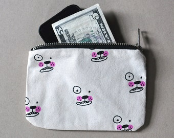 Zipper Pouch Wallet - Dog Face Screen Printed Handmade Bag Purse Limited Edition