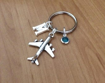 Aeroplane Keychain - Initial Keychain - Birthstone Crystal - Personalised - Airplane - Cabin Crew - Pilot Gift - Fly Safe
