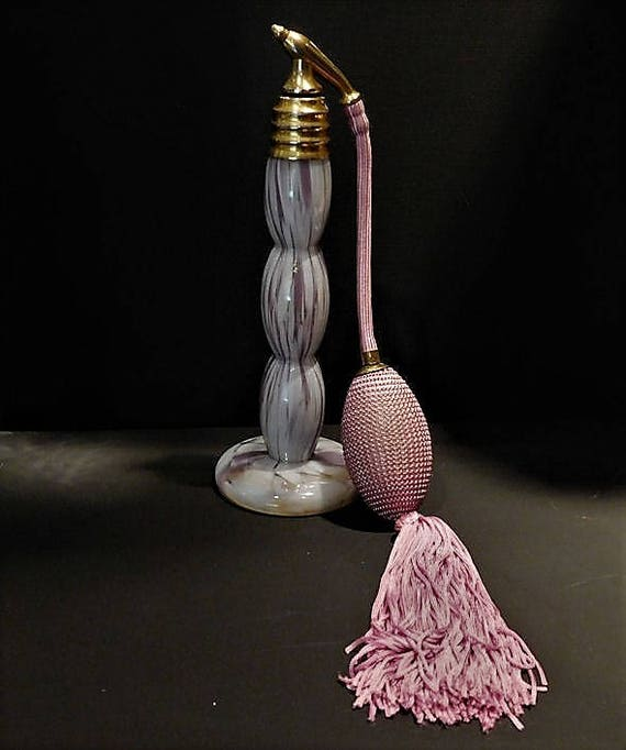 Franz WELZ Czech Atomizer Perfume Bottle Spatter Art Glass Art Deco 1930s 30s Vintage Czechoslovakia Vanity Cologne Bohemian Scent Bottle