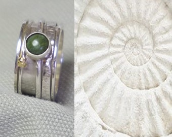 Spinning ring with 3 inner rings and 1 jade gemstone and small gold accent