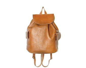 Handmade brown leather back pack
