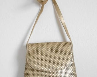 30% SALE - 80s vintage bag - gold leather woven bag - 80s Feast with Friends bag