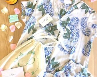 Piyama Luxury Gift Pack - Maggie Pyjama Set - Hydrangea Blue