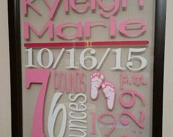 Personalized Baby Stats floating frame