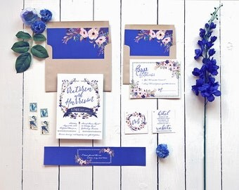 Fall Wedding Invitation Set, Purple and Indigo Floral Suite, Rustic Watercolor Wedding Invites for an Autumn Wedding, Printable or Printed