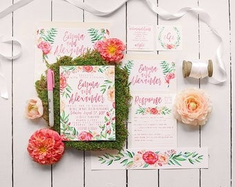 Pink Floral Wedding Invitation Set - Calligraphy Hand-Drawn Inspired Botanical Wedding Invite Suite for a Garden Wedding