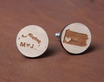 Personalized Cufflinks, Rustic Wedding Accessories, Groomsmen gifts, 5th anniversary Gift, custom Cuff links, Gift for groom, wedding decor