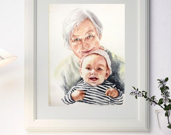Two person watercolor portrait painting from your photo