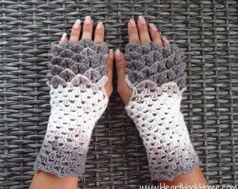 Dragon Tears Fingerless Gloves ***CROCHET PATTERN***