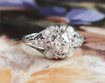 Art Deco Engagement Ring Vintage 1930's Old European Cut Diamond Filigree Halo Engagement Wedding Anniversary Ring Platinum