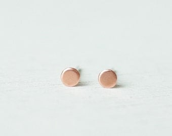 3mm 4mm Minimalist Tiny Copper Flat Dot sterling silver stud earrings/ simple circle round ear studs/ everyday post earrings J4