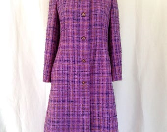 1960's Purple/Lilac Woven Mohair Tweed Coat M/L