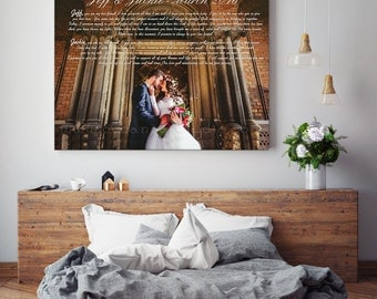 Personalized Wedding Song Lyric, Picture Framed, First Dance Picture, Gift for Bride and Groom,  Custom song lyrics, Custom canvas print
