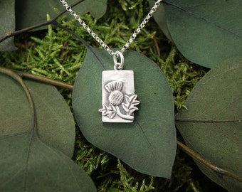 Thistle Necklace in Fine Silver