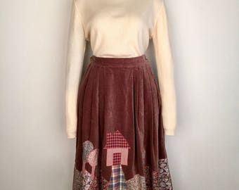 Too cute 1980s gathered brown velvet skirt with landscape appliqué and side pockets