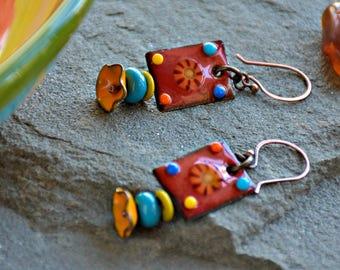 boho style enamel dangle mixed media glass art fiesta earrings