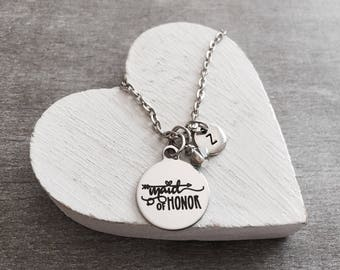 Maid of Honor, Silver Jewelry, Maid of Honor Necklace, Silver Necklace, Charm Necklace Customized, Personalized, Gifts for, Will you be my