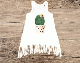 Cactus Dress for Toddler or Baby, Potted Cactus with Hearts