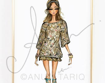 Fashion Illustration Print, Chanel Resort, 8x10""