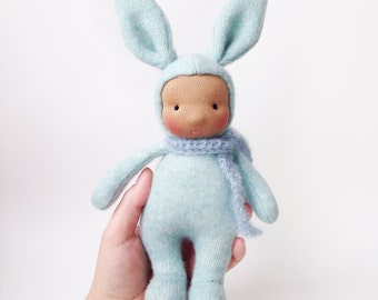 Bunny doll - Easter bunny - Cashmere Handmade waldorf doll - Steiner rabbit doll 10 inch