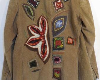 men's jacket, Velvet jacket Khaki, beige jacket, corduroy jacket, boho, upcycled clothing, SELLING OUT winter stuff 30% OFF!!!