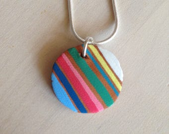 Small Striped Leather Pendant - Necklace - Colorful Stripes