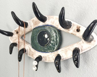 Ceramic Evil Eye Wall Art & Jewelry Holder, Eyelashes for Hooks, Necklace Earrings Storage, Eyelash Love, Makeup Artist Gift Idea, Lashes
