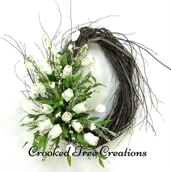 Spring Wreath, Tulip Wreath, Easter Wreath, Spring Door Decor, Tulips, Easter Door Decor, Spring Floral, Ivory Wreath, Spring Wreaths
